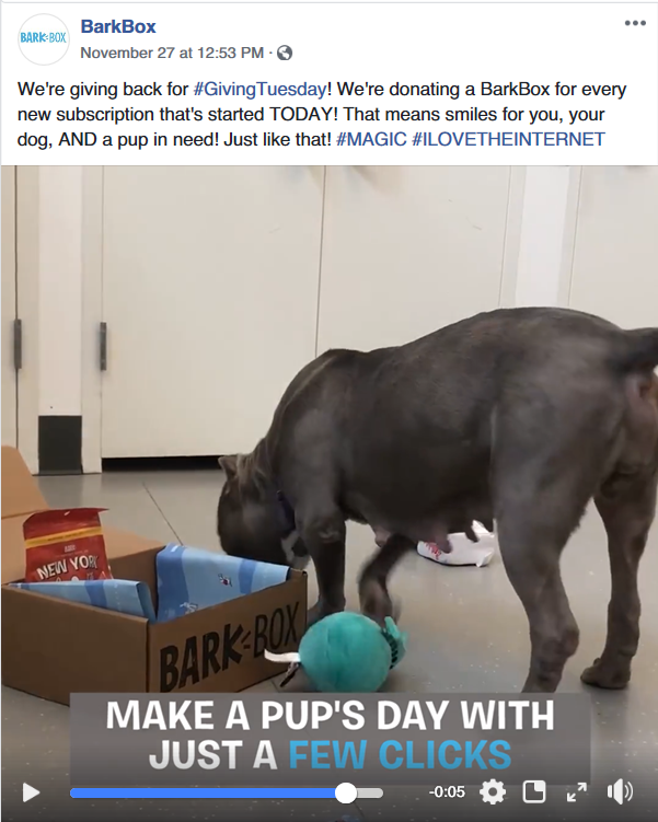 BarkBox #GivingTuesday Example