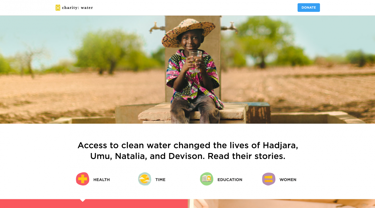 Charity Water Website Sample