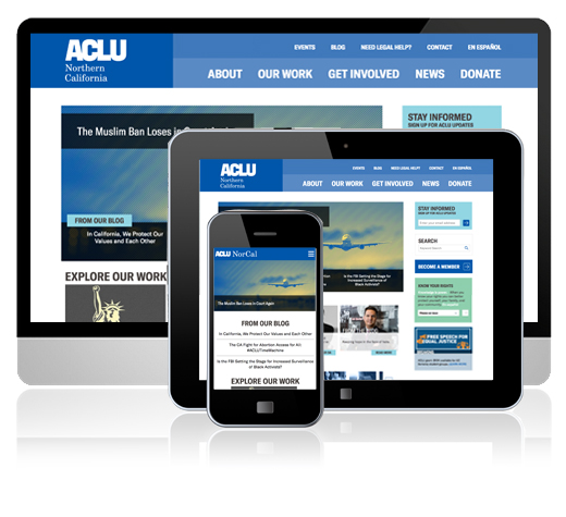 ACLU of Northern California Brand Refresh applied to website