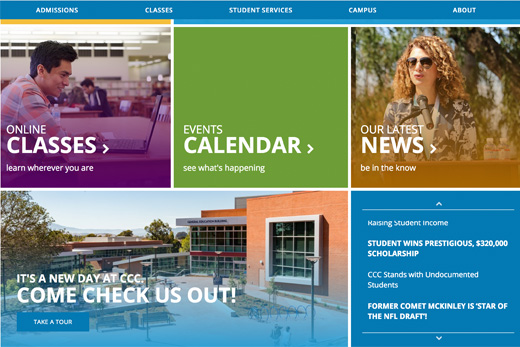 Contra Costa College Award Winning Website