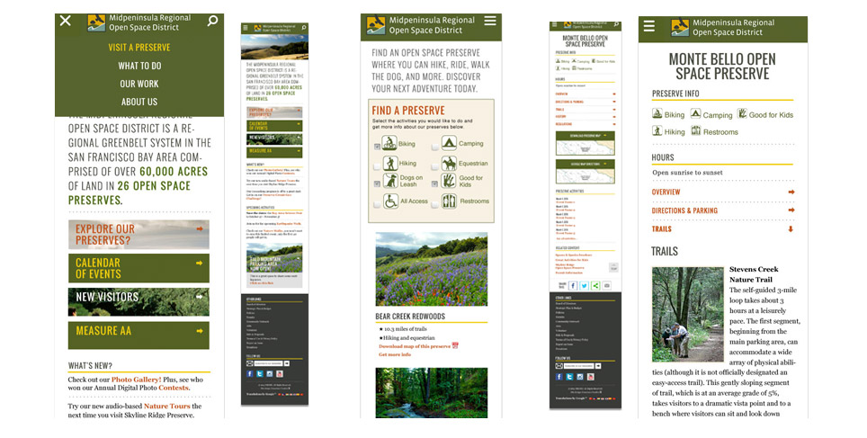 Midpeninsula Regional Open Space District Website Redevelopment Responsive Designs
