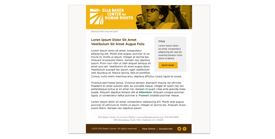 Ella Baker Center Newsletter Template