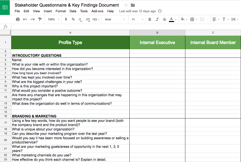 Rootid's Stakeholder Interview Template