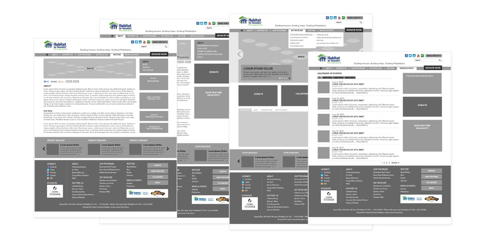 Habitat for Humanity Wireframes