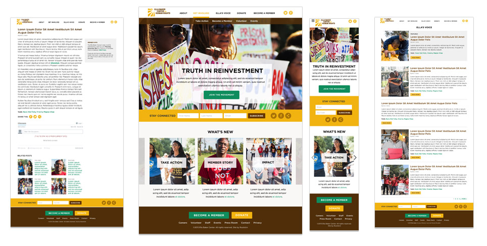Ella Baker Center Website Designs
