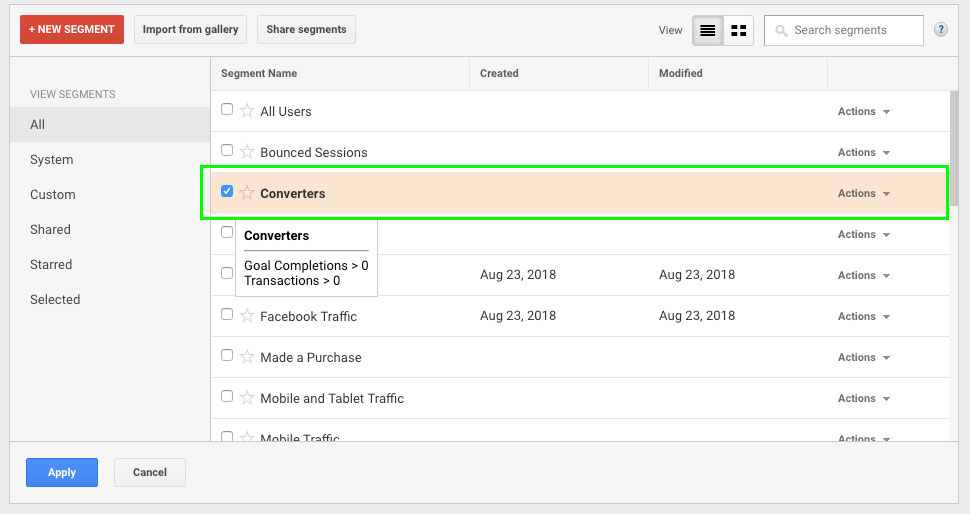 Conversion Segments in Google Analytics