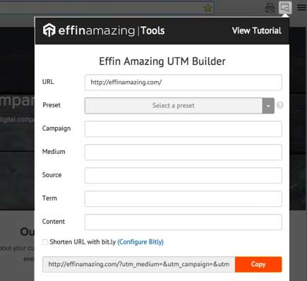 UTM builder browser extension