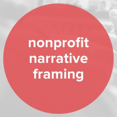 Image of person speaking at laptop filled with people with red circle that says nonprofit narrative framing